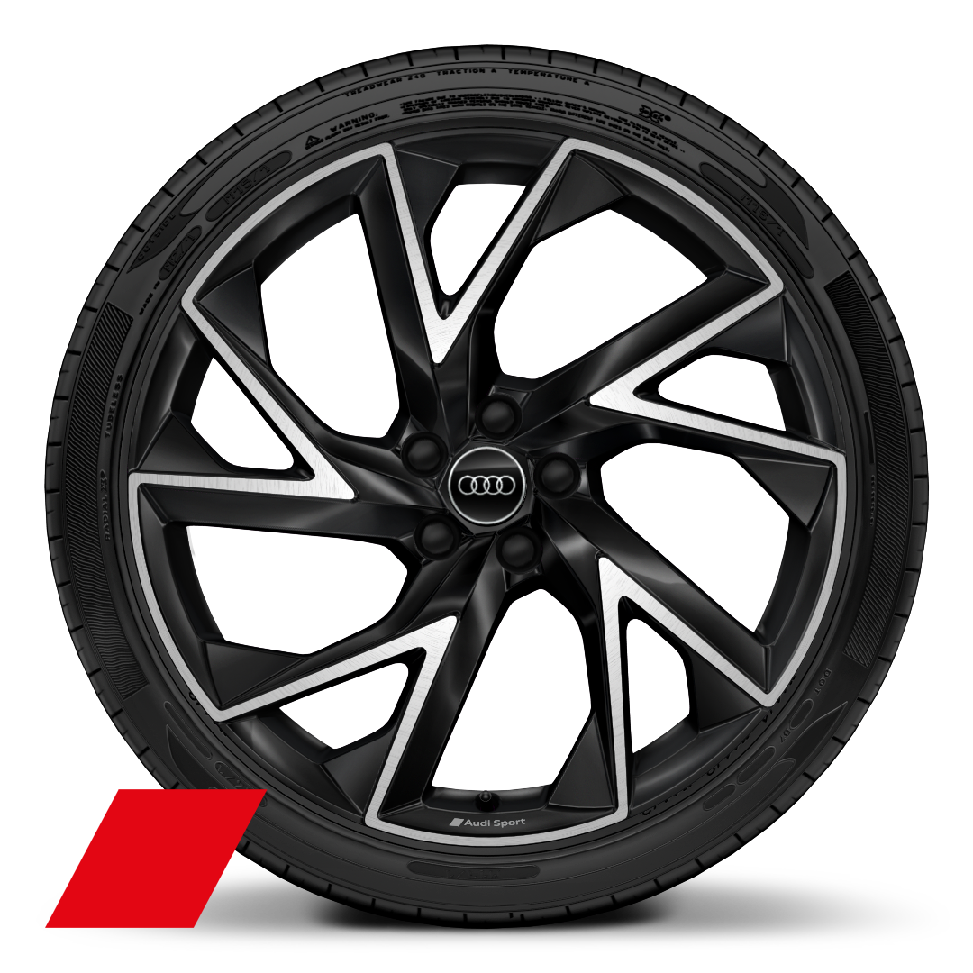 "21"" x 8.5J '5-arm trigon' design alloy wheels in anthracite black, diamond cut finish with 255/35 R 21 tyres"