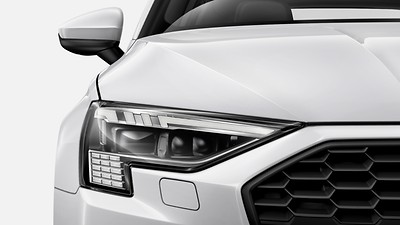 Audi Matrix LED headlights with LED rear lights, dynamic front and rear indicators, and headlight cleaning system