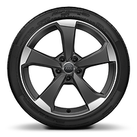 Cast alloy wheels, 5-arm rotor style, Matte Titanium Look, diamond-turned, 8J x 19 with 235/35 R19 tires