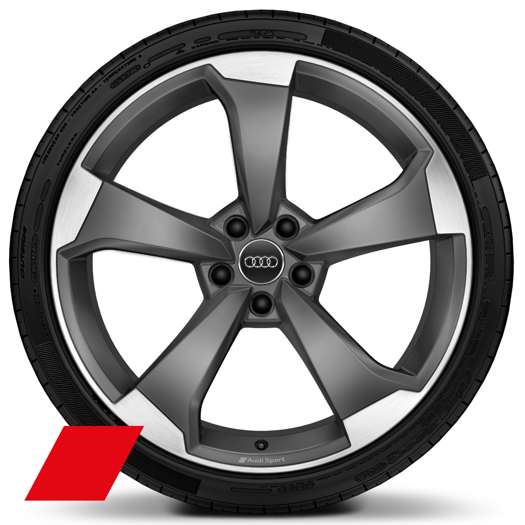 Audi Sport cast alloy wheels, 5-arm rotor style, Matte Titanium Look, diam.-turn., 9J x 20, 265/35 R20 tires