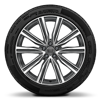 Cast alloy wheels, 5-V-spoke style (S style), Contrast Gray, partly polished, 10J x 21