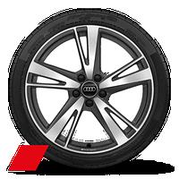 "19"" 5-arm-blade, bi-color matte titanium wheels"