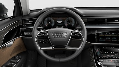 Heated 4-spoke leather multi-function steering wheel