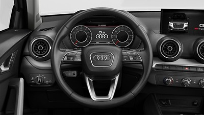 Leather-covered multifunction sports steering wheel, 3-spoke, with shift paddles