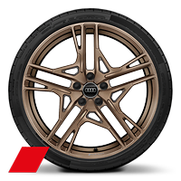 Alloy wheel 8.5J + 11J x 20, 5-double-spoke dyn. style, Mat. Bronze, dia.-turned w/ 245/30+305/30 R20 tire