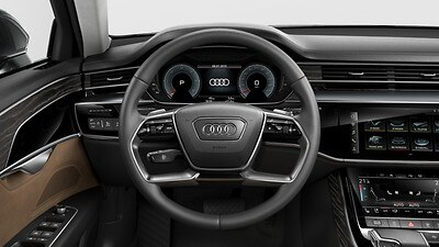 Twin-spoke leather steering wheel with multifunction and shift paddles