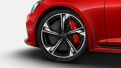 Ceramic brakes with Glossy Red brake calipers, 19-inch