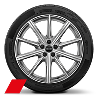 Alloy wheels, 10-spoke star style, Platinum Gray, diam.-turned, 8.5J x 20, 255/40 R20 tires, Audi Sport GmbH