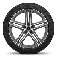 Alloy wheels, 5-double-spoke star style (S style), Graphite Gray, diam.-turned, 8.0J x 20, 255/45 R20 tires