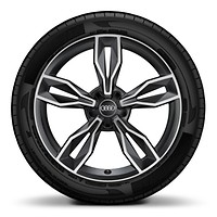 "18"" x 7.5J '5 parallel spoke star S design' matt black alloy wheels with 225/35 R18 tyres. Only with quattro exterior styling package"