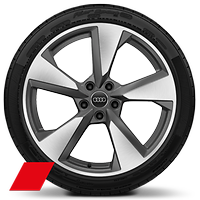 Alloy wheels, 5-arm pylon style, Matte Titanium Gray, diamond-turned, 8.5Jx19, 255/35 R19 tires, Audi Sport GmbH