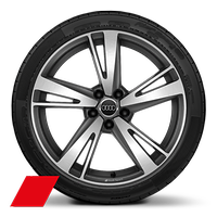 "19"" Audi Sport alloy wheels in 5-arm blade design in matt titanium look, gloss turned finish with 235/35 tyres"