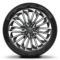 Cast alloy wheels, multi-spoke style, Contrast Gray, partly polished, 8.5J x 19 with 245/45 R19 tires