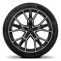 Audi Sport cast alloy wheels, 5-V-spoke star style, Glossy Anthracite Black, diamond-turned, 10J x 22