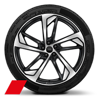 Audi Sport cast alloy wheels, 5-arm trapezoidal style, Glossy Anthracite Black, diam.-turned,10J x 22, 285/35 R22