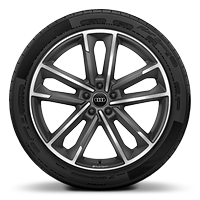 Audi Sport cast alloy wheels, 5-double- arm style, Matte Titanium Look, diam.- turned, 8.5J x 20 with 255/40 R20 tires