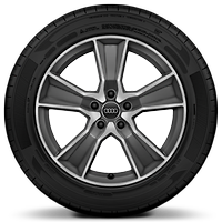 Audi Sport cast alloy wheels, 5-arm off-road style, Matte Tit. Look, diam.- turned, 7J x 18 with 215/50 R18 tires