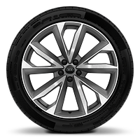 "21"" x 9.5J '5-V-double-spoke' design alloy wheels in contrast gray with gloss-turned finish with 285/40 R21 tyres"