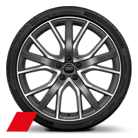 Audi Sport cast alloy wheels, 5-V-spoke star style, Titanium Look, diamond- turned, 8.5J x 20 with 255/40 R20 tires