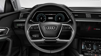 Leather-wrapped multi-function steering wheel, double-spoke, shift paddles and steering wheel heating