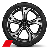 Audi Sport cast alloy wh., 5-double- spoke rotor style, Matte Black, diam.- turn., 8.5J x 20, 255/40 R20 tires