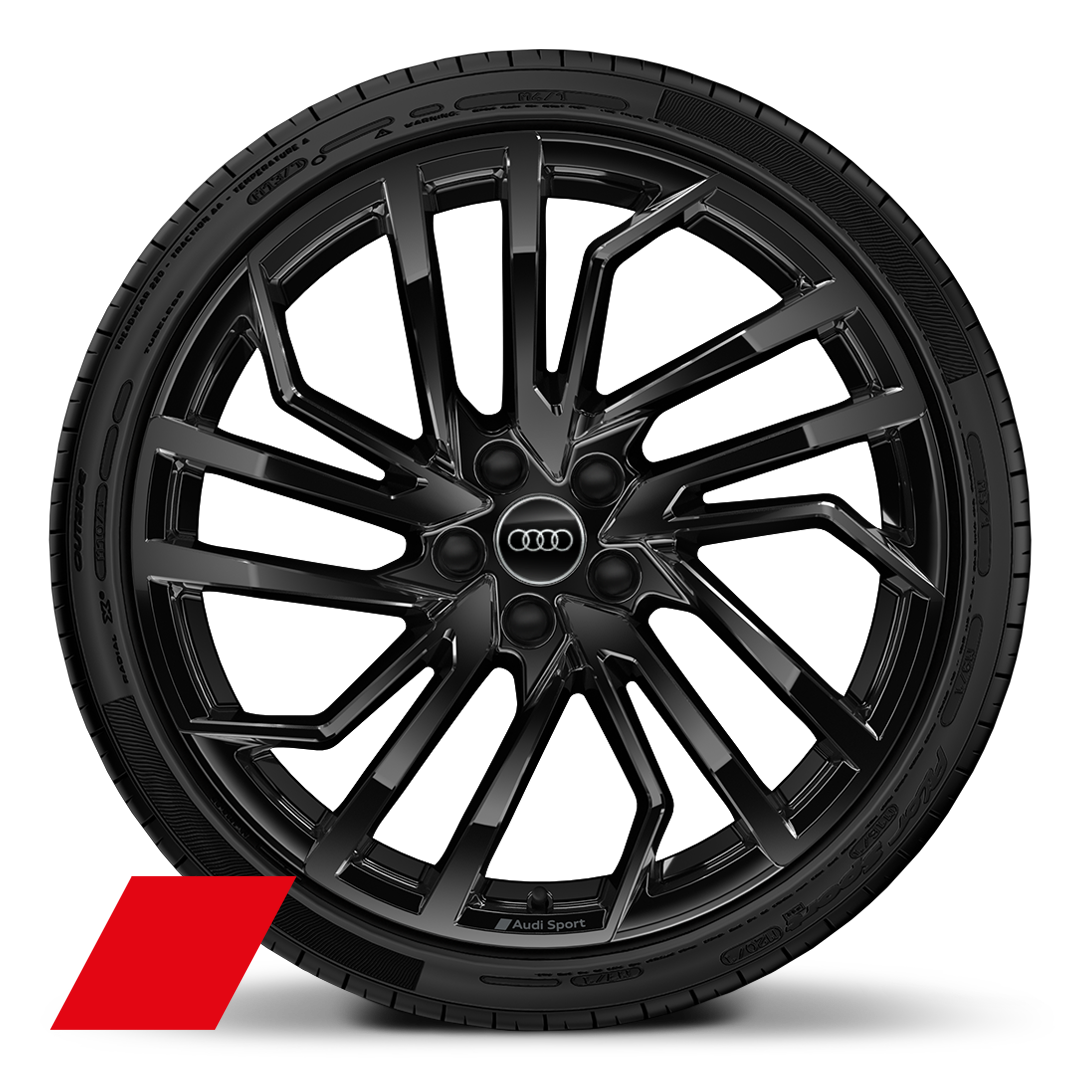 "20"" x 9.0J '5-segment-spoke Evo style' design Audi Sport alloy wheels in glossy black with  275/30 R 20 tyres"