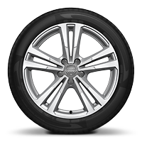 Cast alloy wheels, 5-parallel-spoke style, partly polished, 7.5J x 18 with 225/40 R18 tires
