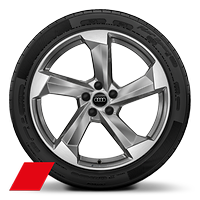 Alloy wheels, 5-arm turbine style, Platinum Gray, diam.-turn., 8.5J x 20, 255/40 R20 tires, Audi Sport GmbH