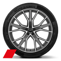 Alloy wheels, 5-V-spoke star style, Matte Titan. Gray, diam.-turn., 10Jx22, 285/35 R22 tires, Audi Sport GmbH