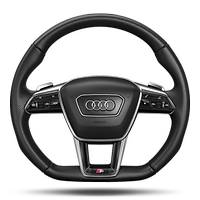 Sports contour leather-wrapped multi- function steering wheel with shift paddles, flat-bottomed
