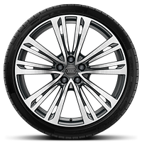 Cast alloy wheels, 10-parallel-spoke style, Contrast Gray, partly polished, 9J x 20 with 265/40 R20 tires