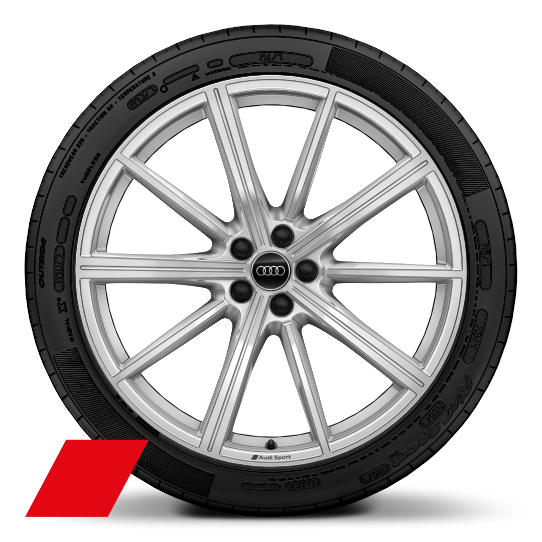 "22"" x 10.0J '10-spoke star' design Audi Sport alloy wheels in galvano silver with 295/40 R22  tyres"