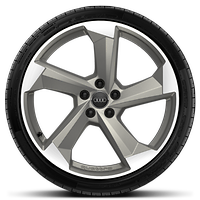 "20"" alloy wheels in 5-arm turbine design, magnesium grey, partly polished with 265/40 tyres"