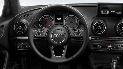 Leather-wrapped steering wheel, 3-spoke, with multi-function Plus and shift paddles