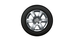 Complete winter wheel in 6-arm design, brilliant silver, 7.5 J x 17, 225/55 R17 97H