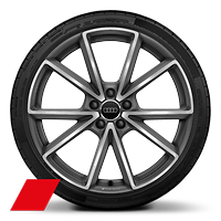 "20"" Audi Sport V-spoke design, matte titanium finish, 255/30 performance tires"