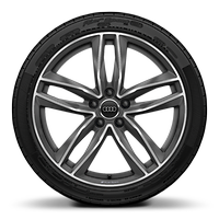Audi Sport cast alloy wheels, 5-double- spoke style, Matte Titanium look, diam.-turn., 9J x 19, 245/35 R19 tires