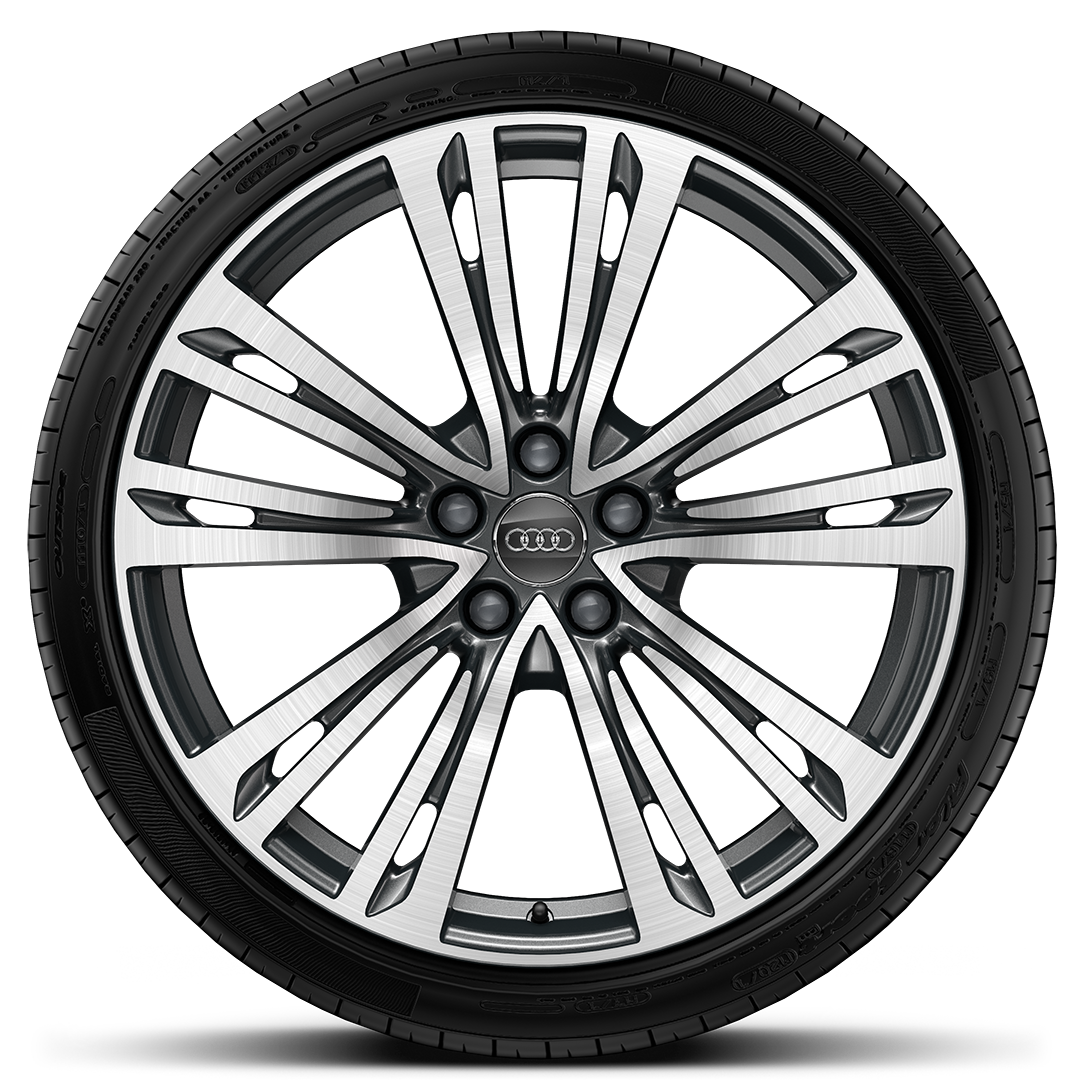 "20"" x 9.0J '10-parallel-spoke' design forged contrasting grey alloy wheels  with 265/40 R20 tyres"