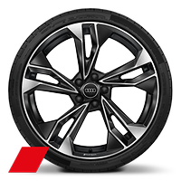 Audi Sport cast alloy wheels, 5-double spoke polygon style, Black, diamond- turned, 9J x 20 with 265/30 R20 tires
