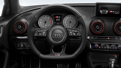 Flat-bottomed 3-spoke leather multi-function Sport steering wheel with gear-shift paddles for S tronic transmissions