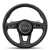 Leather-wrapped steering wheel, 3-spoke, with multi-function Plus and steering wheel heating