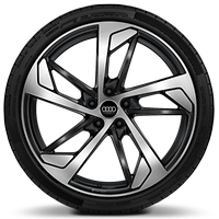 Forged alloy wheels, 5-arm trapezoidal style, Glossy Anthracite Black, diamond-turned, 9J x 20