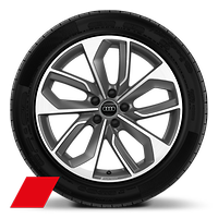 "19"" Audi Sport alloy wheels in 5-double- spoke edge style, Matte Titanium Look, with 235/40 tyres"