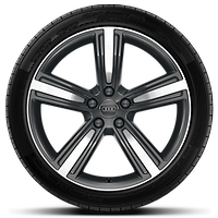 Cast alloy wheels, 5-arm style, Contrast Grey, partly polished, 9J x 19 with 255/45 R19 tires