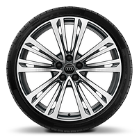 Alloy wheels, 10-parallel-spoke style, Graphite Gray, diamond-turned, 9.0J x 20, 265/40 R20 tires