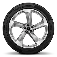 "21"" 5-arm turbine design alloy wheels, in platinum look"