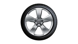 Winterkomplettrad im 5-Arm-Design, brillantsilber, 6,5 J x 17, 205/50 R17 93H XL, links