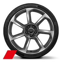 "20"" x 9J '7-spoke rotor style' matt titanium look, diamond cut with 255/30 R20 tyres"
