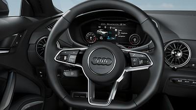 Three-spoke multifunction flat-bottom sport steering wheel with shift paddles