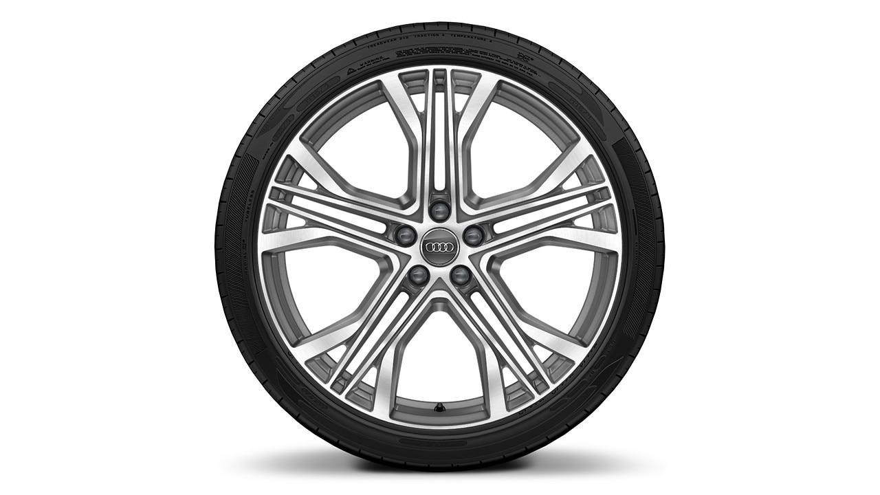 "21"" 5-V-spoke-star design contrast Gray polished wheels"